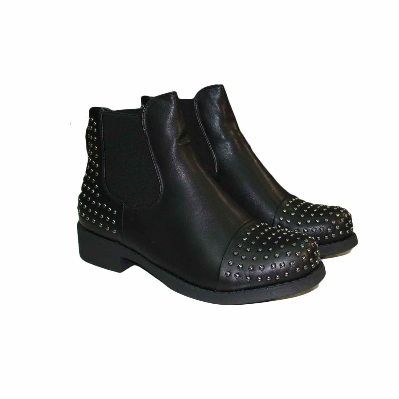 Scarpe donna stivaletti nero con elastico bassi con borchie dorate avanti e sul retro donna stivaletti Malu Shoes | MaluShoes