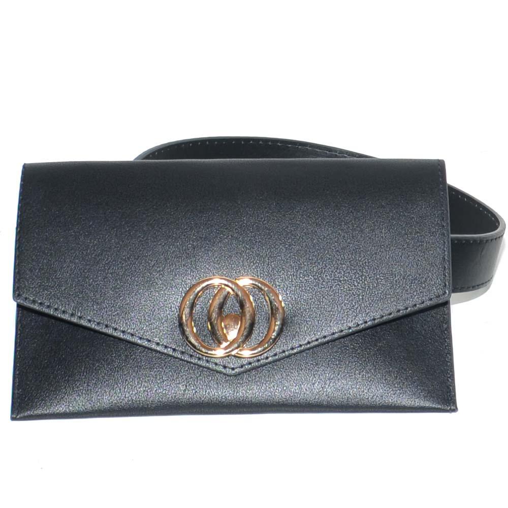 prese di fabbrica nuovo aspetto rivenditore di vendita Cintura donna sottile nera in ecopelle 3 cm con borsello annesso anelli oro  glamour moda marsupio donna cinture Malu shoes | MaluShoes