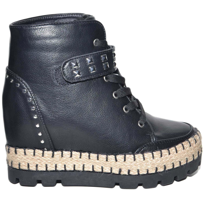 qualità ben noto nuovo stile Sneakers alta donna con para zeppa interna chiusura in lacci fondo paglia e  gomma con borchie moda donna sneakers alta Malu shoes | MaluShoes
