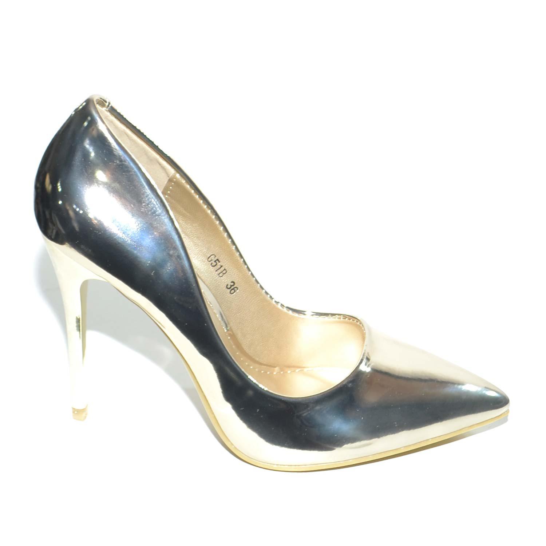 Decollete donna oro specchiato lucido linea luxury vernice oro tacco a  spillo 12 cm elegante 88ca1ddb472