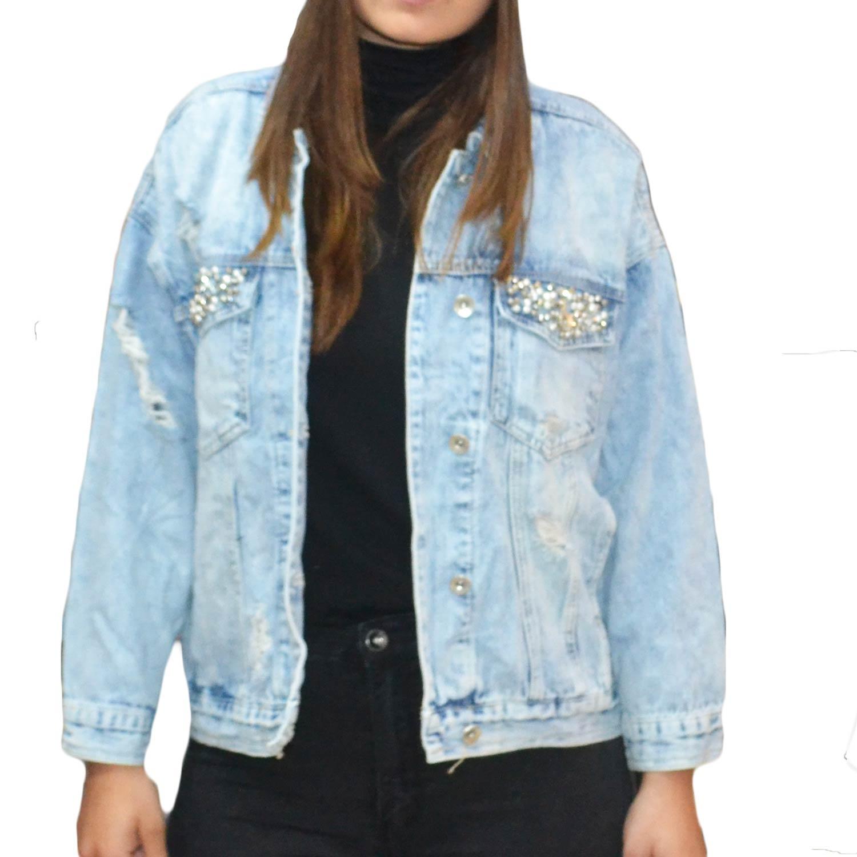new product dcd18 cc5ca Giubbotto di jeans modello vintage over con perline sul taschino lavaggio  chiaro donna giubbini Osley | MaluShoes