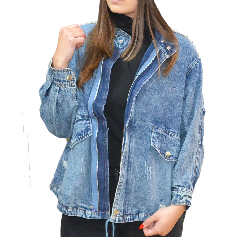 Giubbotto di jeans scuro modello over zip con paillettes rosa donna giubbini Osley | MaluShoes