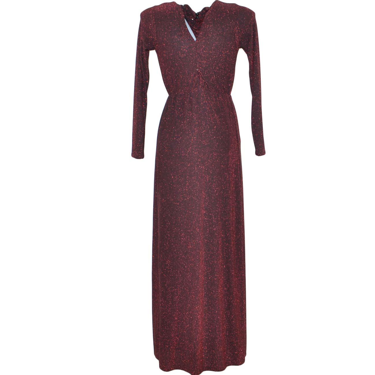 3e388147a72b Abito donna lungo glitterato con spacco e schiena scoperta in spandex nero  glitterato rosso a collo alto moda glamour donna abiti Malu shoes