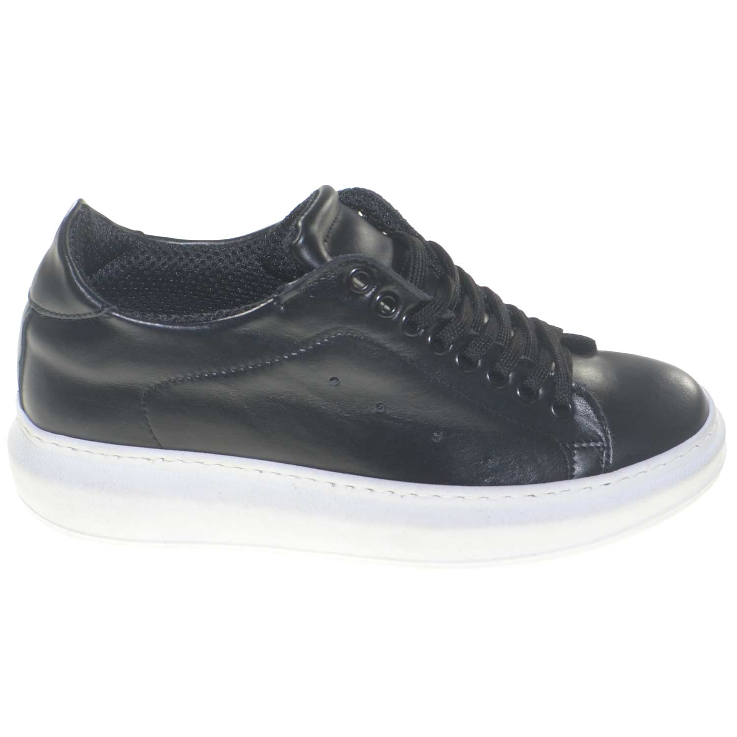Sneakers bassa donna in vera pelle fondo alto bianco queen comfort linea basic trendy.