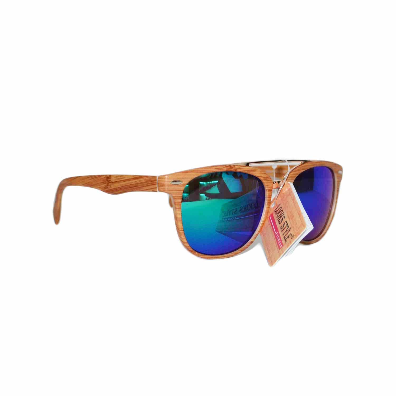 Occhiali da sole effetto legno beige vetro colorato for Occhiali da sole montatura in legno