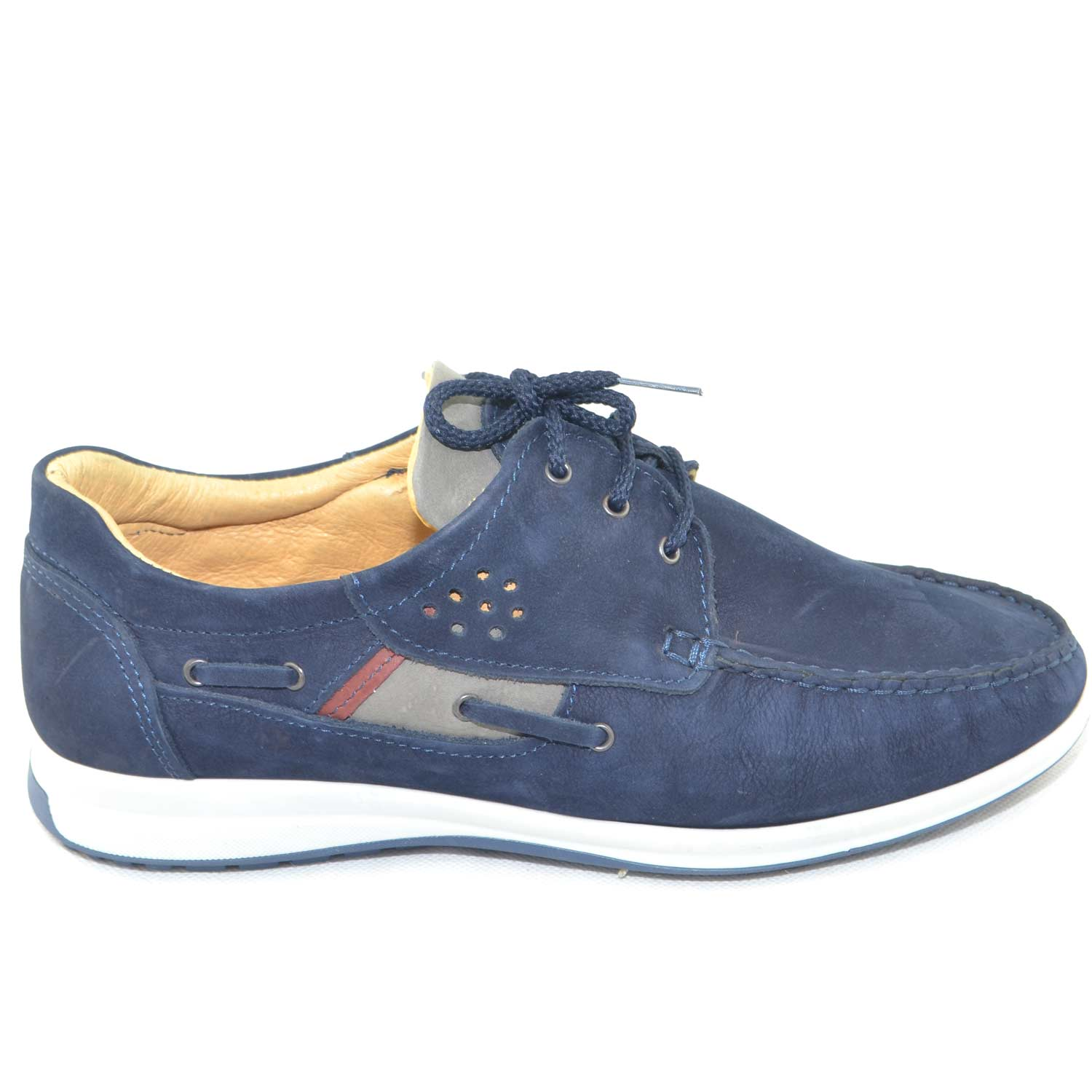 Scarpa  uomo interland man casual made in italy scarpa interland comfort in vera pelle di nabuk blu fondo antiscivolo