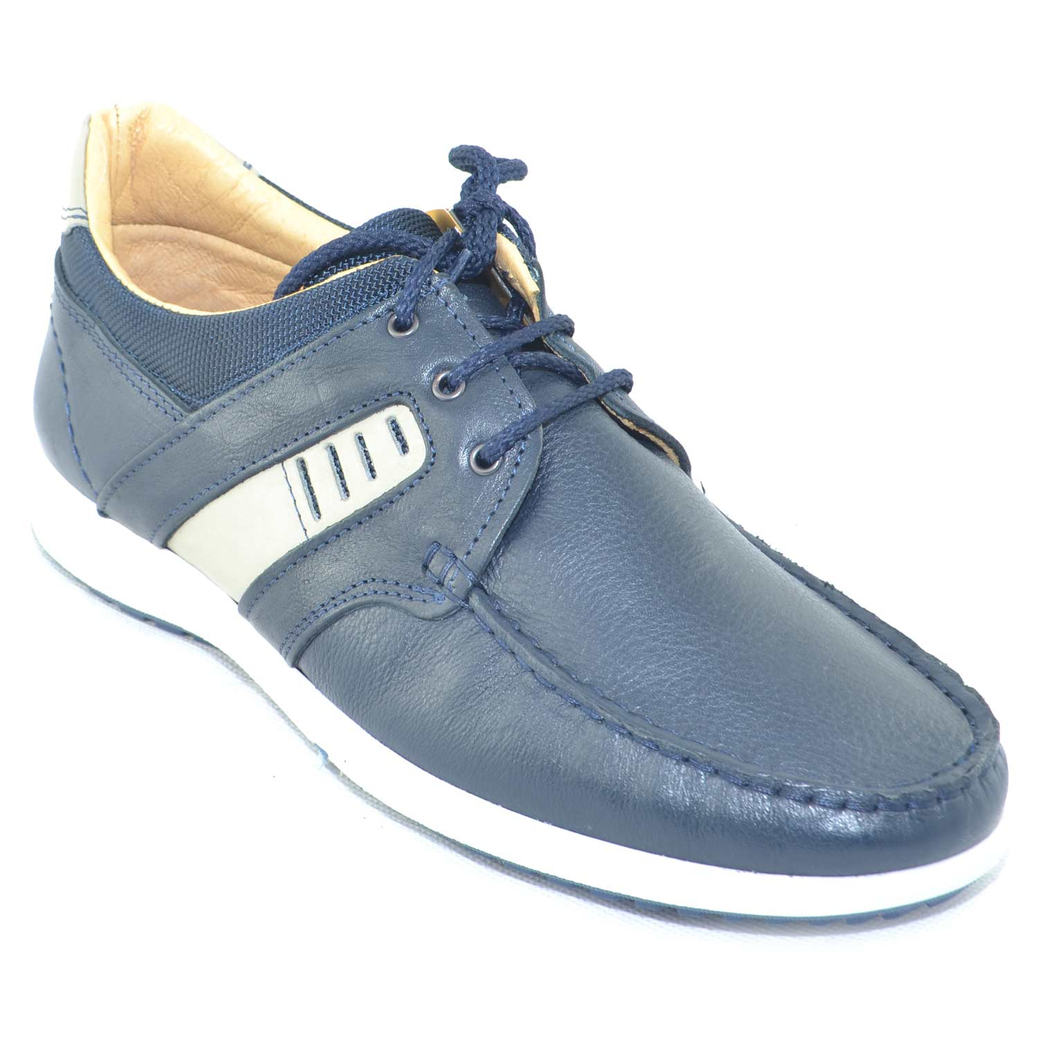 Scarpe uomo interland man casual made in italy scarpa interland comfort in vera pelle di nabuk blu fondo antiscivolo.