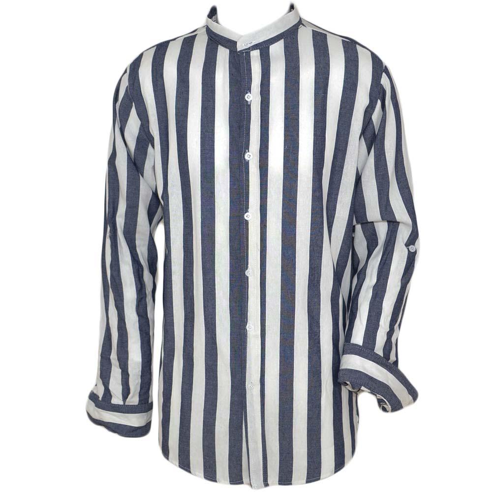 buy popular 08d92 ef608 camicia uomo collo coreano con fantasia rigata biancolu, tessuto lino  modello slim chiusura con bottoni moda uomo camicie Malu Shoes | MaluShoes