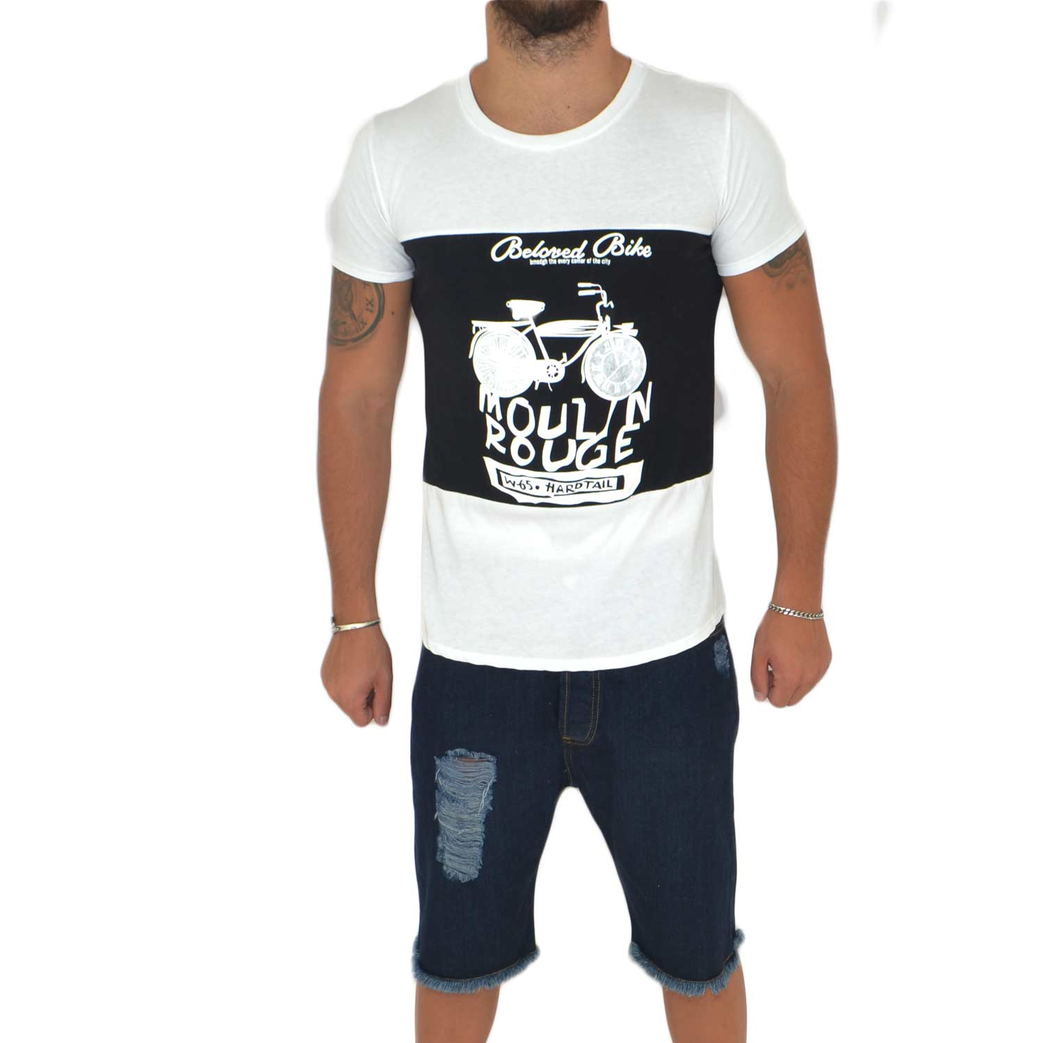 T-Shirt maglietta moulin  rouge con collo rotondo e maniche corte con design popular cucitoartigianalmente made in italy