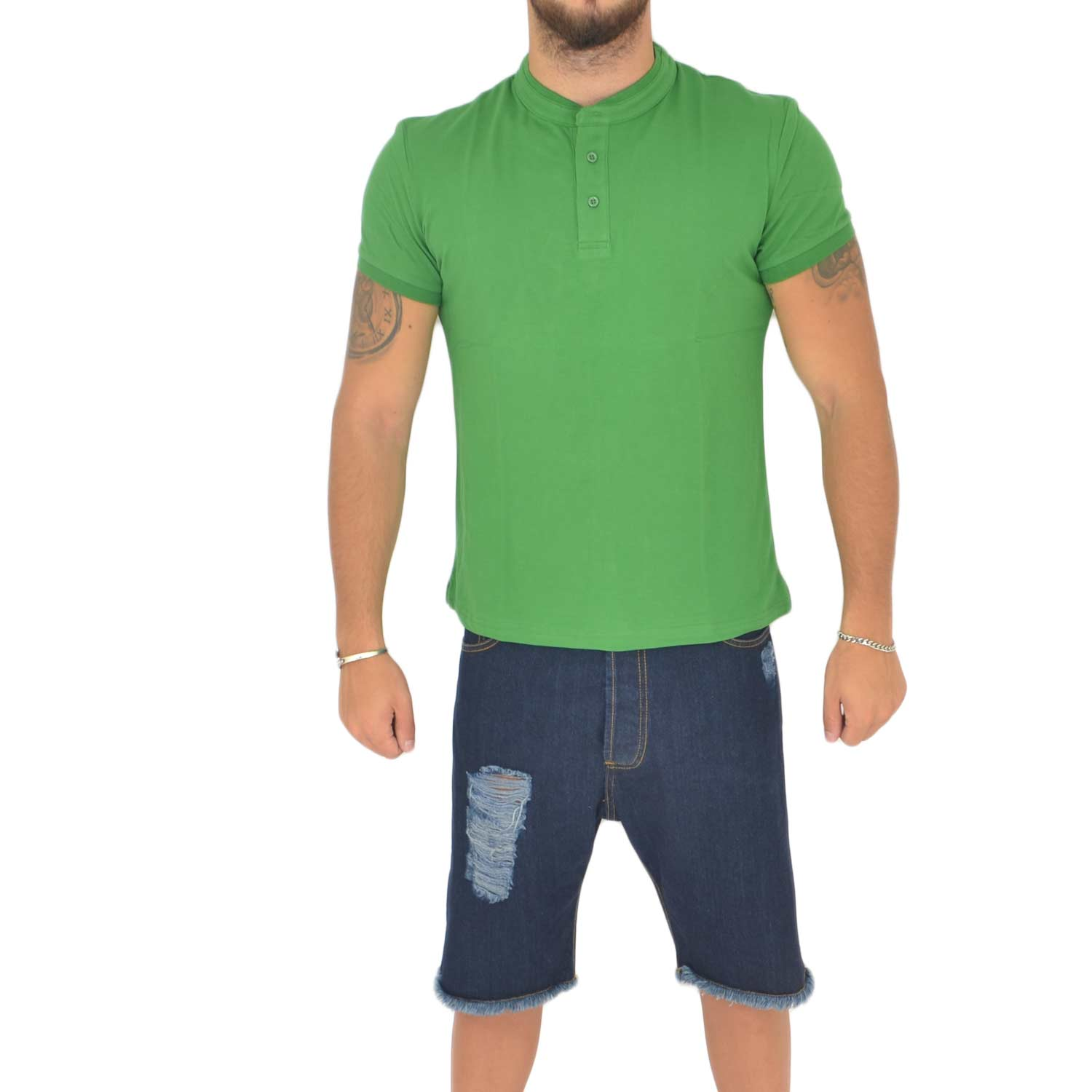 T- shirt basic uomo in cotone elastico verde semplice slim fit girocollo con cucitura in tinta made in italy