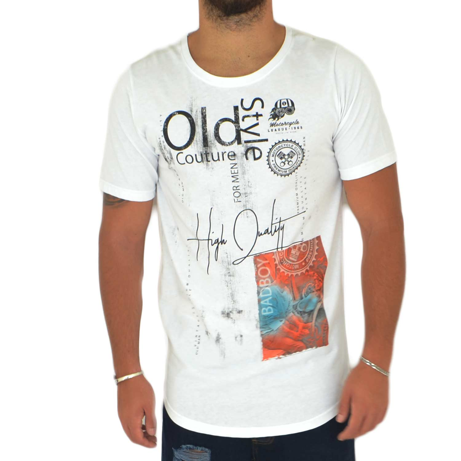 T-Shirt maglietta OLD STYLE con collo rotondo e maniche corte con design popular cucitoartigianalmente made in italy