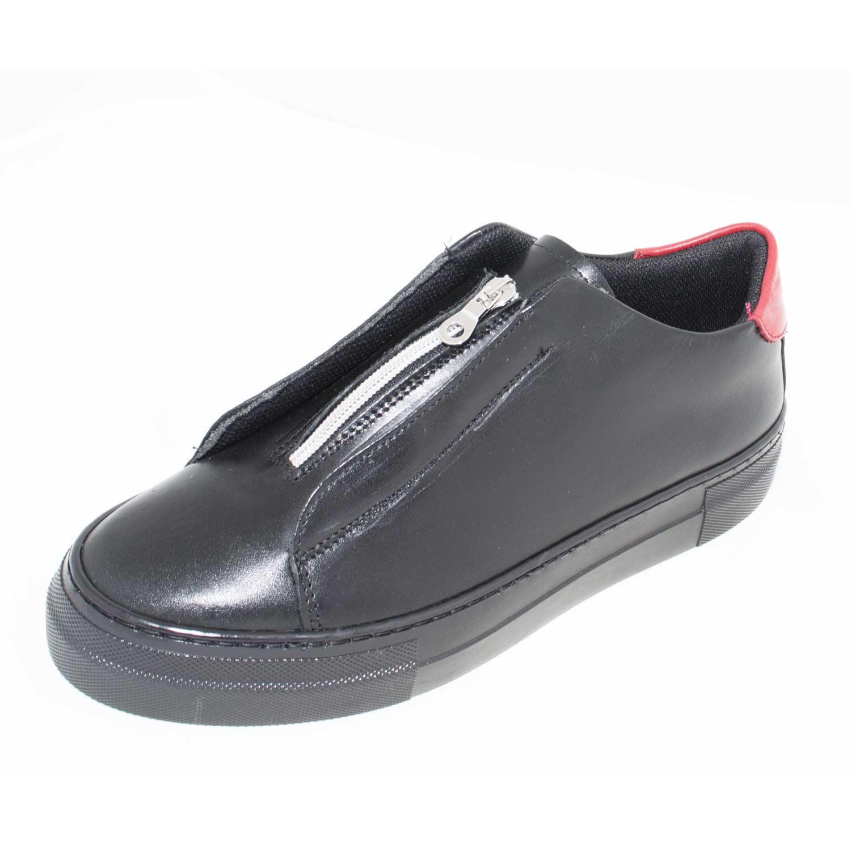Scarpe uomo sneakers bassa art 4563 made in italy comfort nero fortino  rosso zip senza lacci uomo sneakers bassa made in italy  57d7d51f4f6