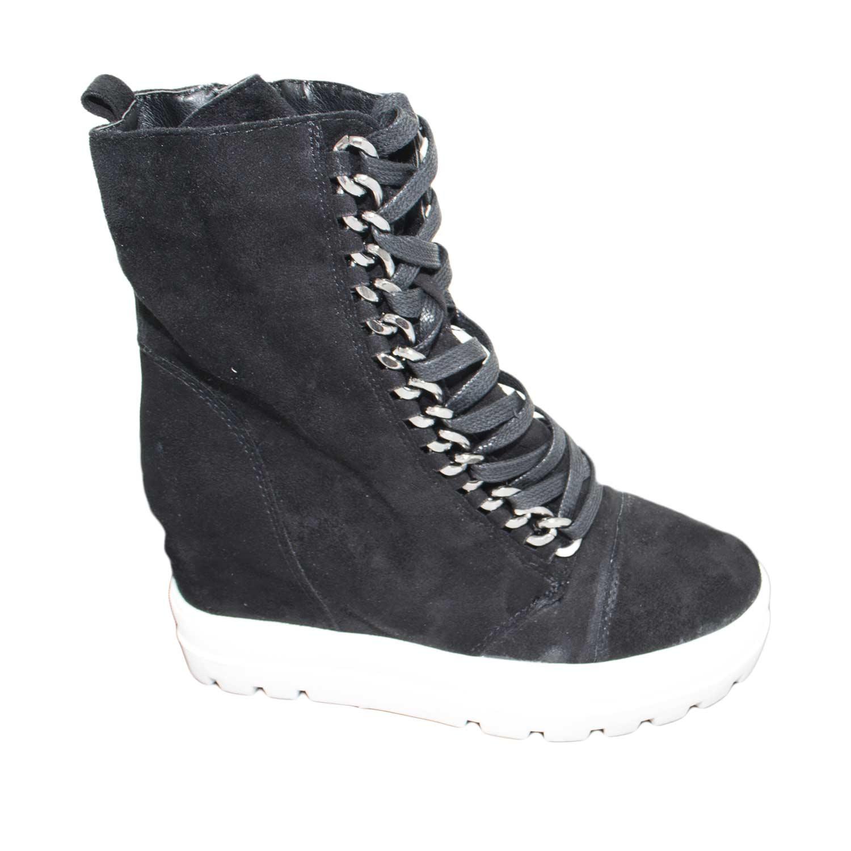... Scarpe e Accessori. Sneakers alta donna art.sa7788 nera camoscio zeppa  interna para alta antipioggia moda glamour 6eb3a474bfb