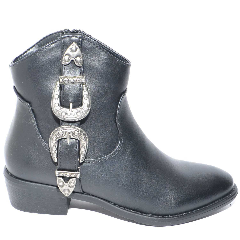 Stivaletti donna camperos bassi neri con fibbia argento chiusura zip linea  glam moda tendenza b9c81bb523b