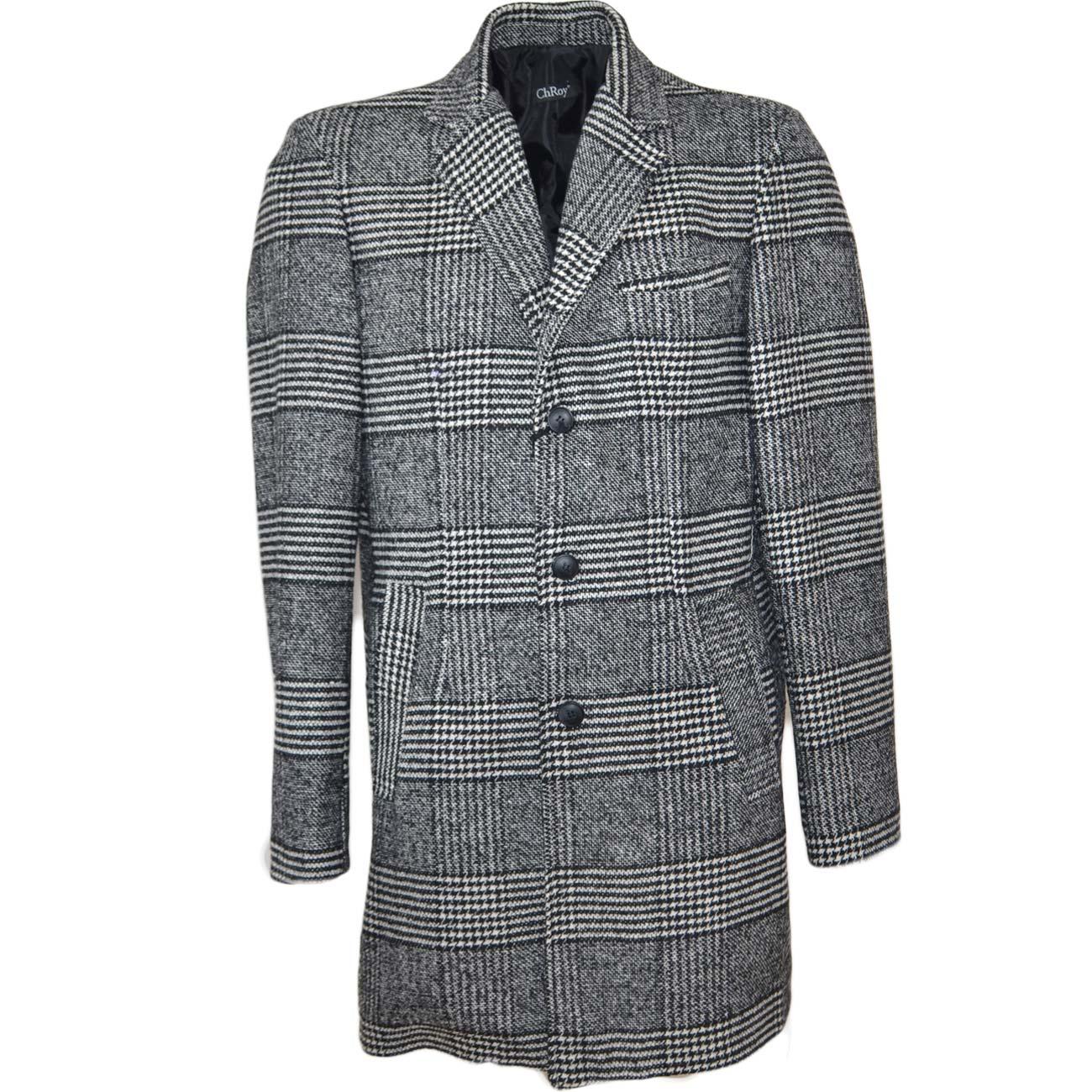 quality design 2f116 37df7 Cappotto giacca lunga uomo a fantasia quadri bianco e nero dandy in calda  lana sottile bottoni in osso da professionista uomo cappotti made in italy  | ...
