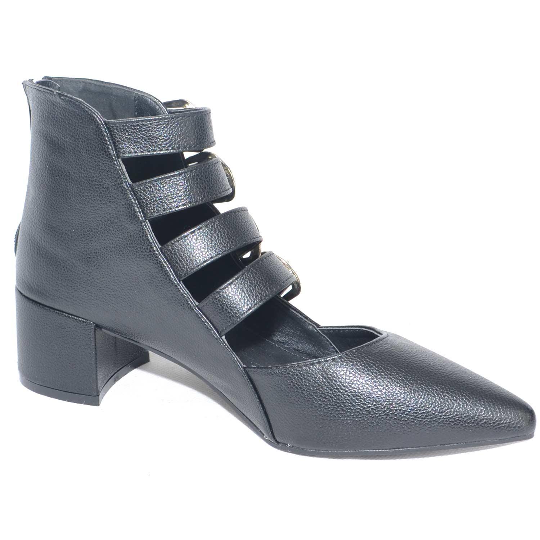 Scarpe basse ballerine nere con fibbie e cinturini e tacco midi moda glamour 43143209e48