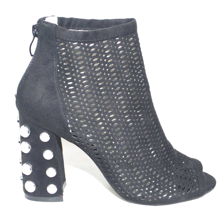 Dettagli su Tronchetto donna spuntato open toe forato in camoscio nero tacco largo con perle