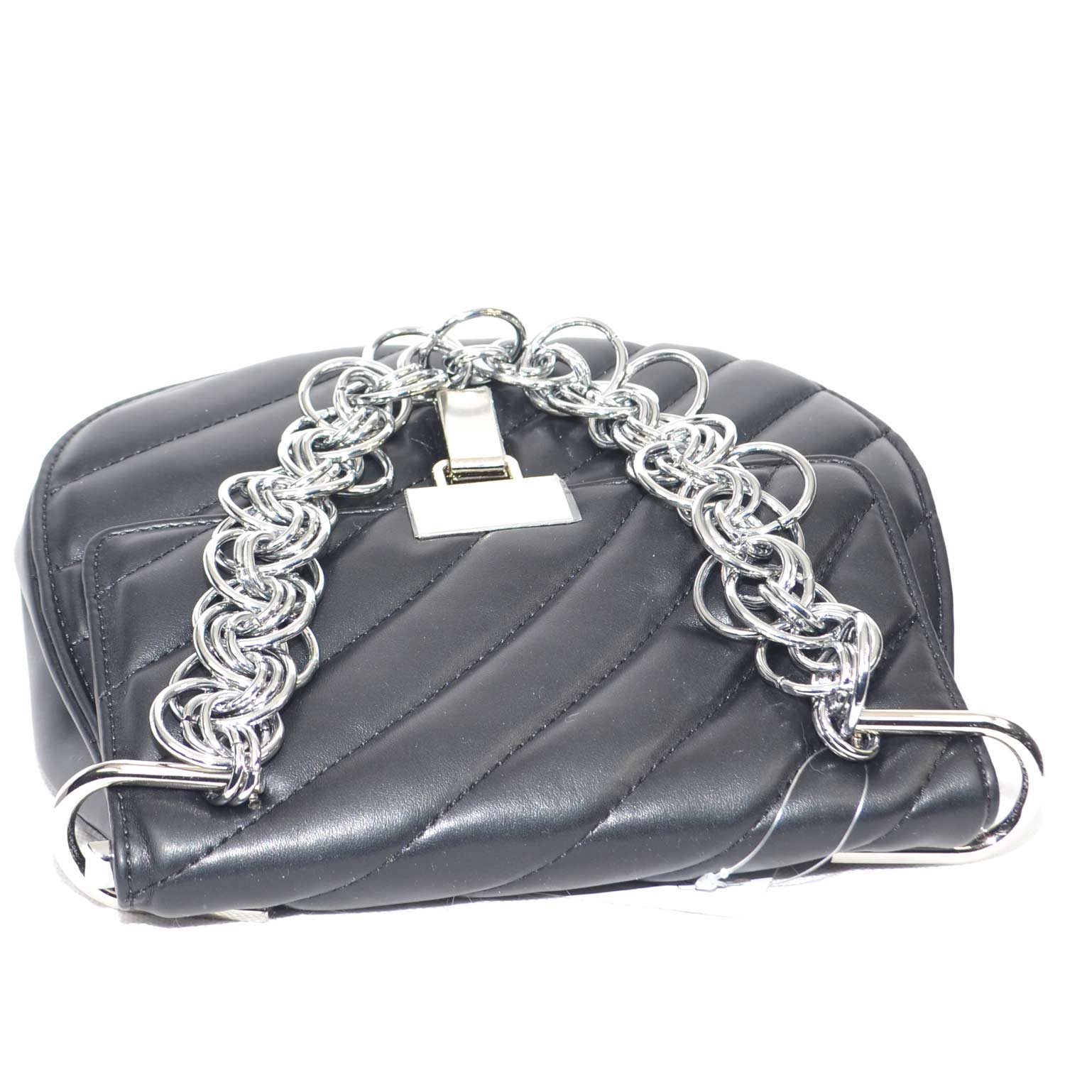 Borsa donna nera con catena moda glamour made in italy.