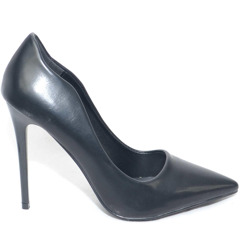 108f6bae4a6fad scarpe donna decollete' in pelle nero con ondulatura laterale e ...