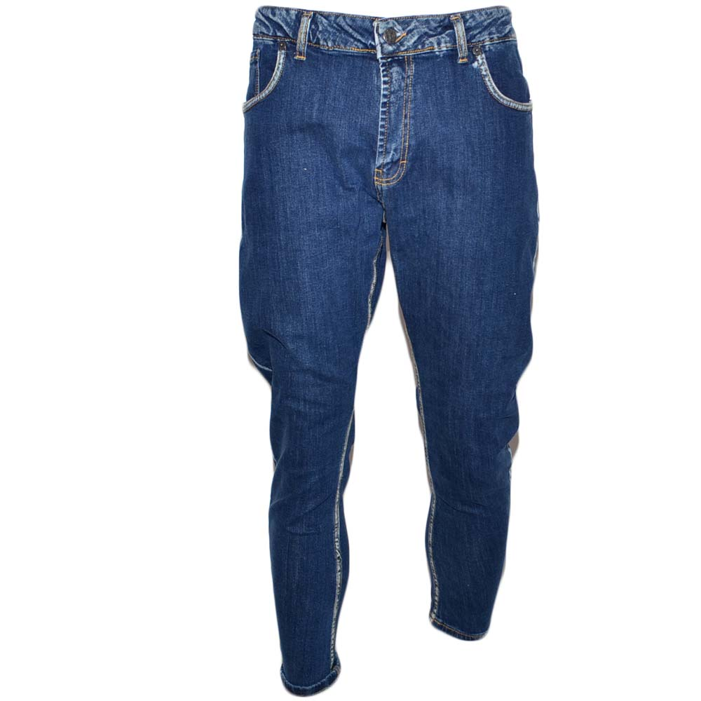 Jeans uomo denim lavaggio scuro graduale slim fit a cavallo basso 4 tasche moda cross cargo tendenza.