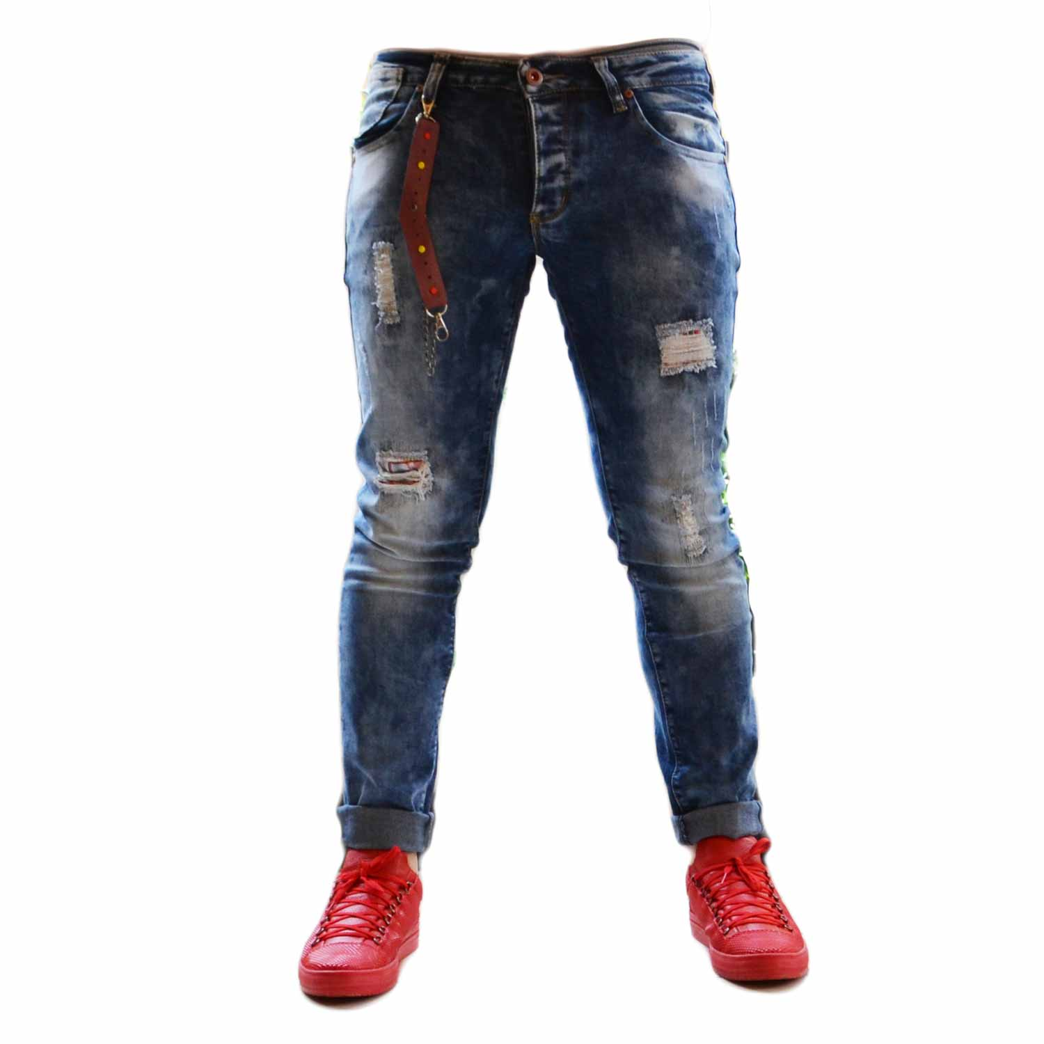 Jeans slim denimlavaggio graduale accessorio bicolore made in italy man .
