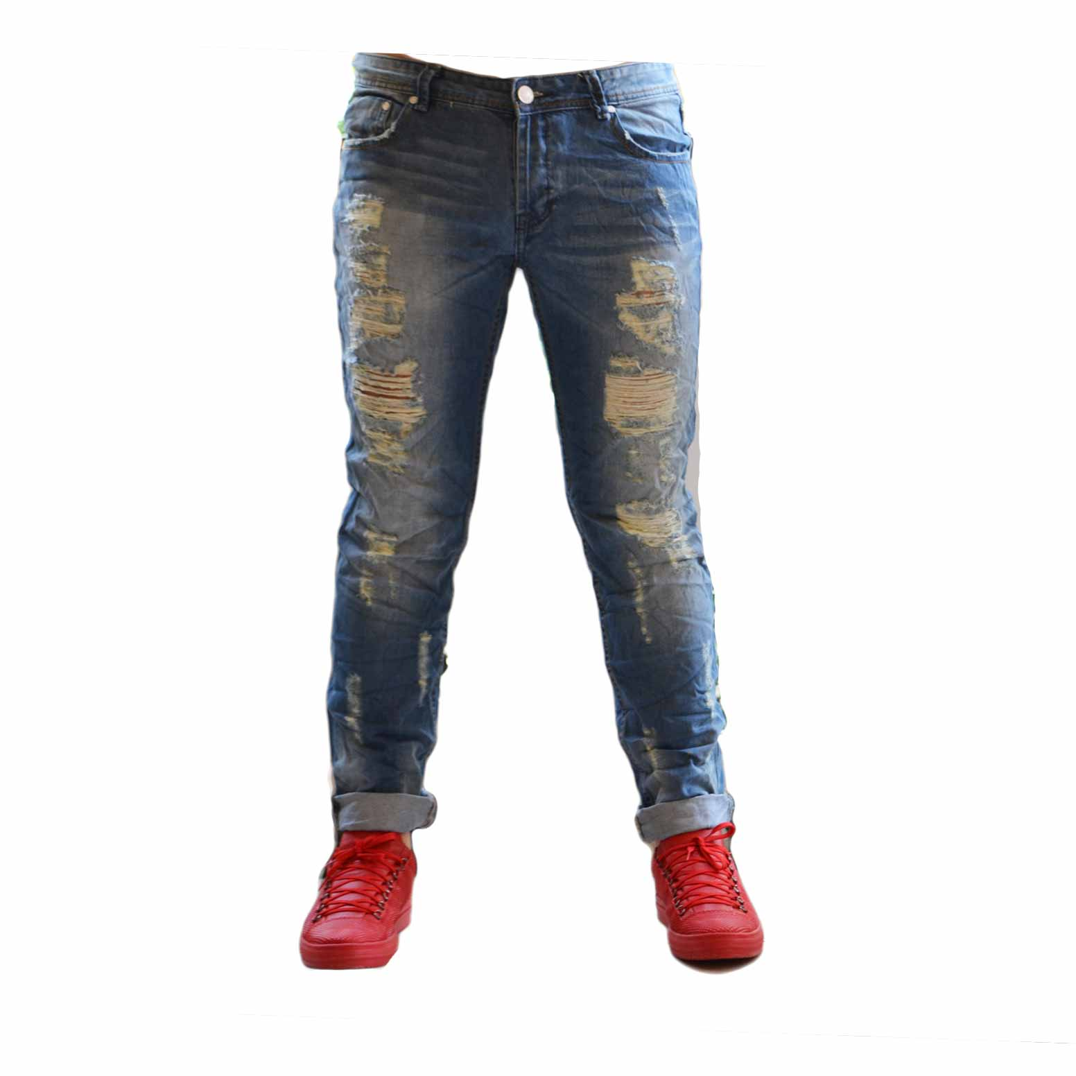 Jeans fashion strappi denim man uomo slim risvoltino causual .