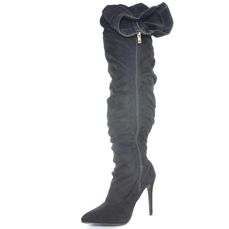 939c0fc3c9fc8 Stivali alti camoscio donna art sp01022 tacco a spillo linea punta moda  glamour luxury
