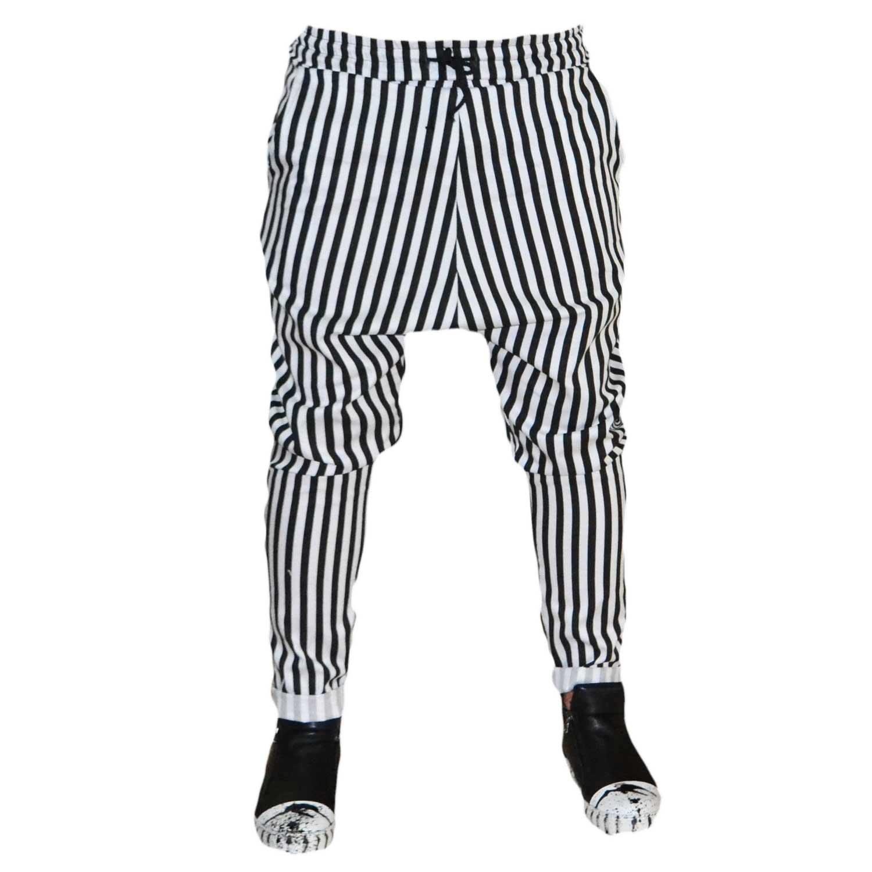 Pantalone Fashion Righe Nero Bianco Slim cavallo basso uomo pantaloni Acy | MaluShoes