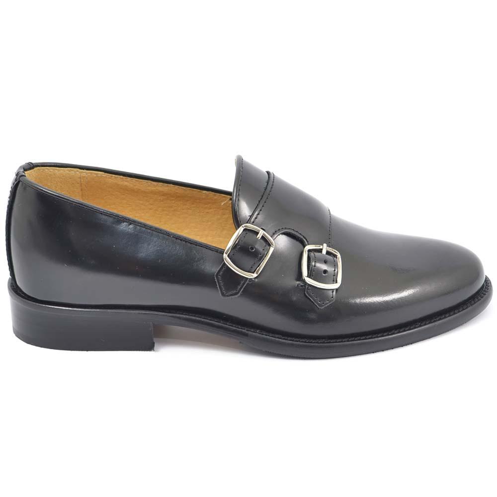 Scarpe uomo con fibbia doppia nero sottile derby vintage in vera pelle abrasivata spazzolata a mano business linea dandy uomo mocassini Malu Shoes |