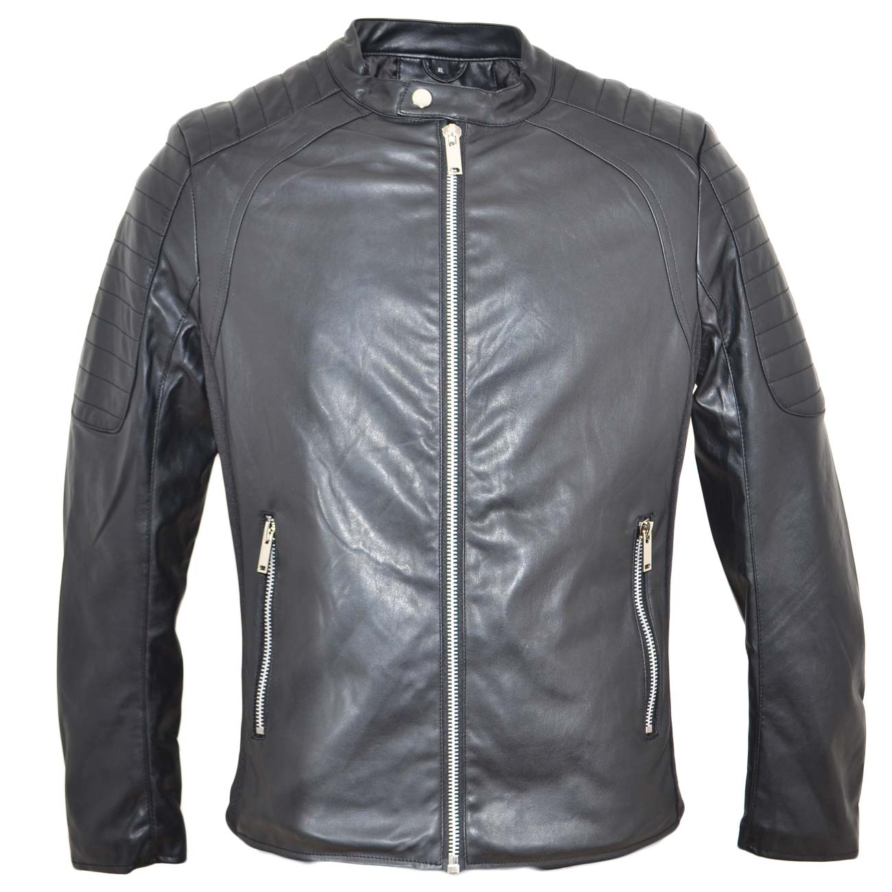 on sale f2074 cefc1 Giubbino giacca uomo in simil pelle con imbottitura e doppia zip frontale  spalle rinforzate tipo motociclista tendenza uomo giubbini in pelle made in  ...