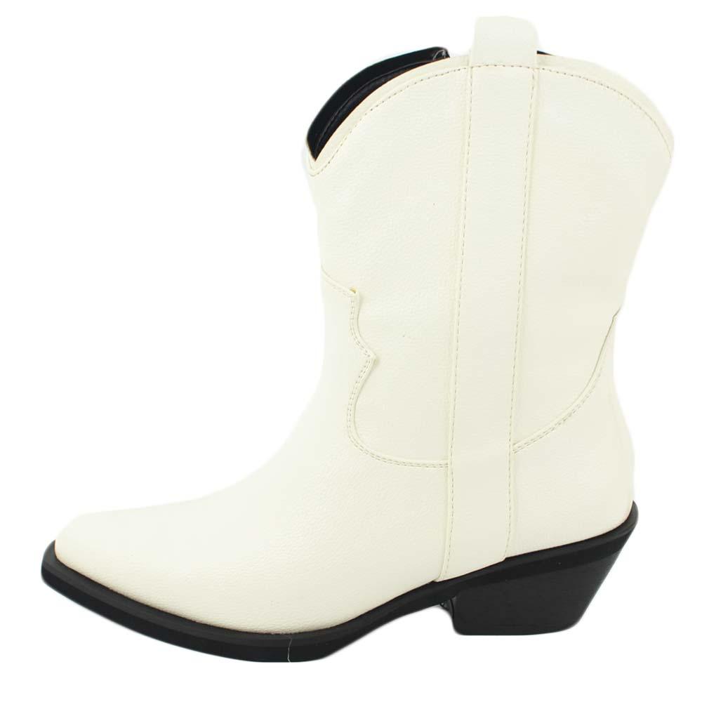 Camperos donna stivali texani tipo western bianchi bortolati lisci altezza polpaccio moda basic tacco western zip donna stivaletti Malu Shoes |