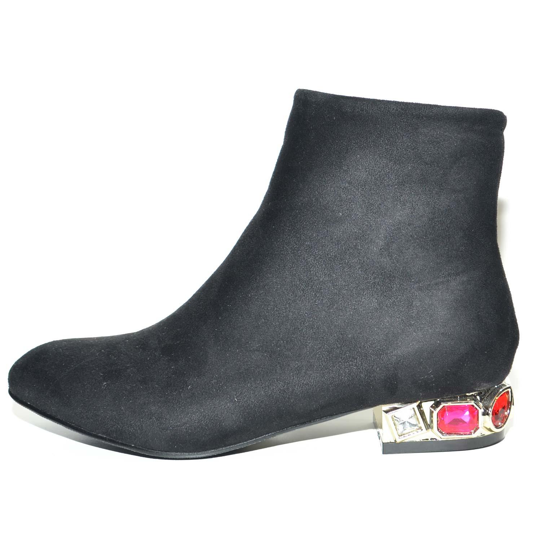 Dettagli su Stivaletti scarpe donna in camoscio nero elegant con tacco in pietre colorate e