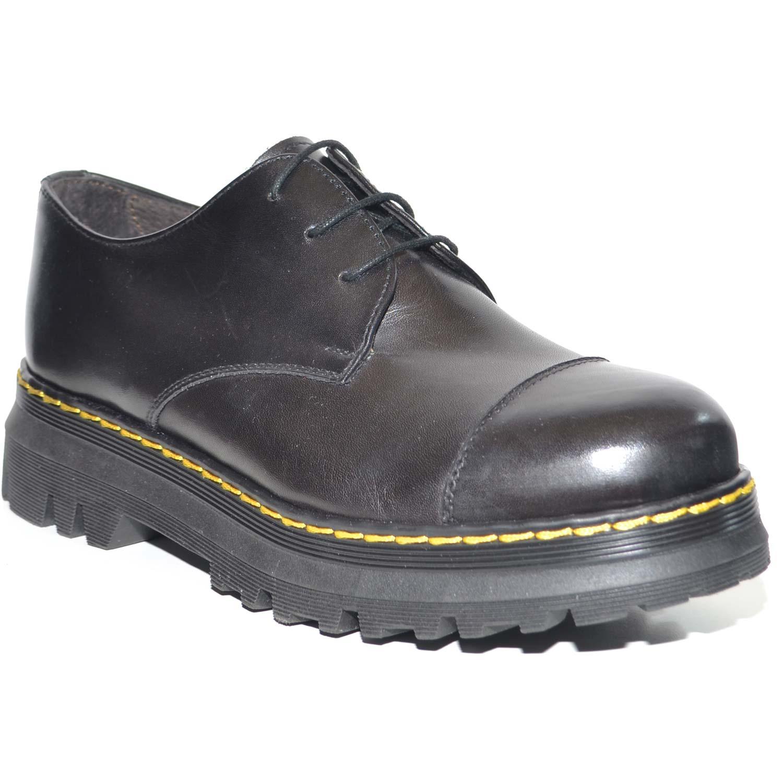 SCARPE DONNA FRANCESINA INGLESE PUNTA ALZATA VERA PELLE CRUST NERA MADE IN ITALY FONDO CLASSICO SPORTIVO MERTENS donna stringate francesine Malu Shoes