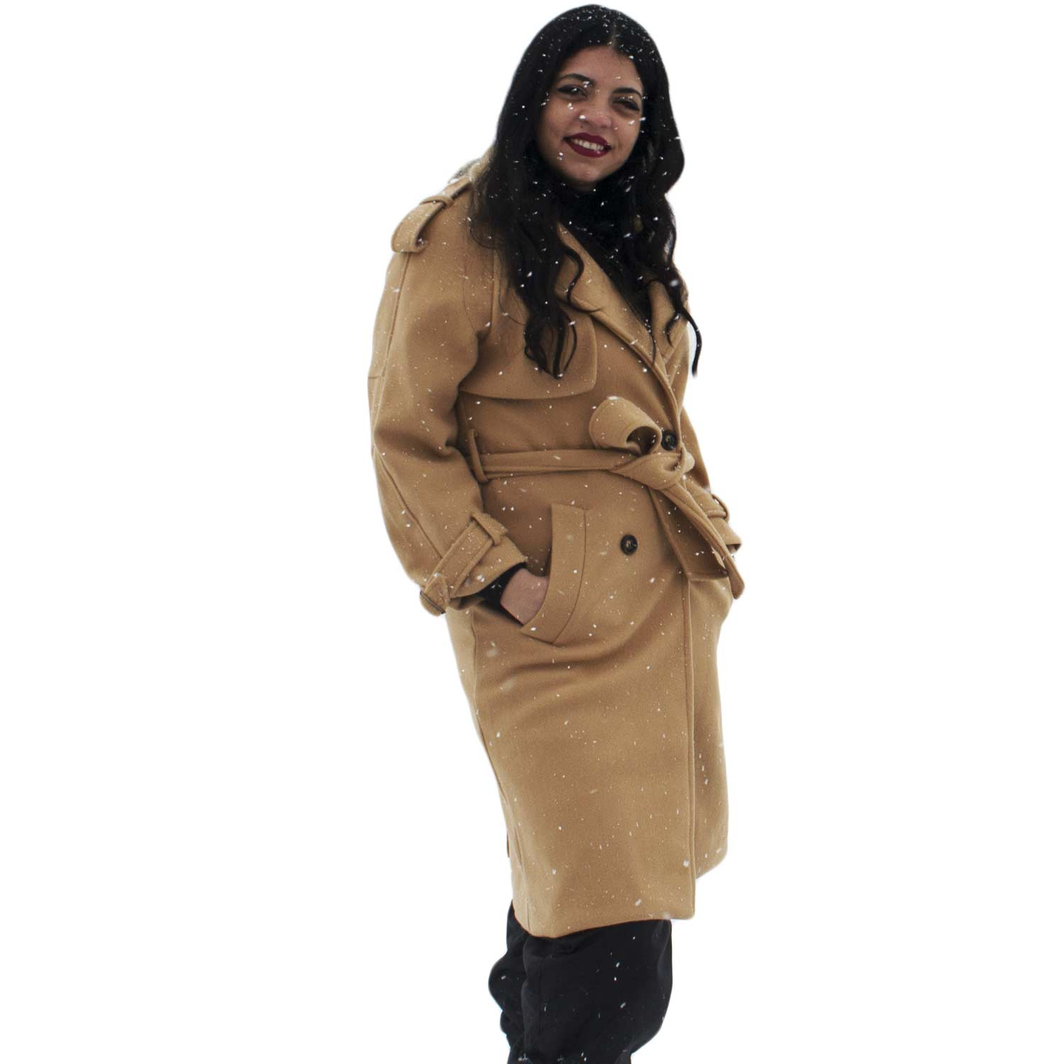 Cappotto donna trench coat colore camel beige bottoni moda donna ... 07b21c401ae0