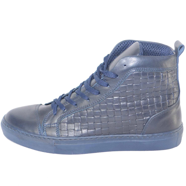 7d7900f15c Dettagli su Sneakers alta uomo made in italy blu vera pelle intrecciata  moda giovanile