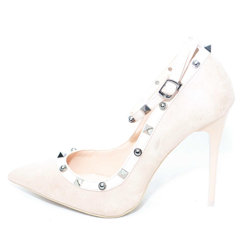 foto ufficiali online comprare on line Scarpe donna eleganti punta in camoscio cipria con cinturino e rifinimenti  in pelle e borchie donna dcollet Malu Shoes | MaluShoes