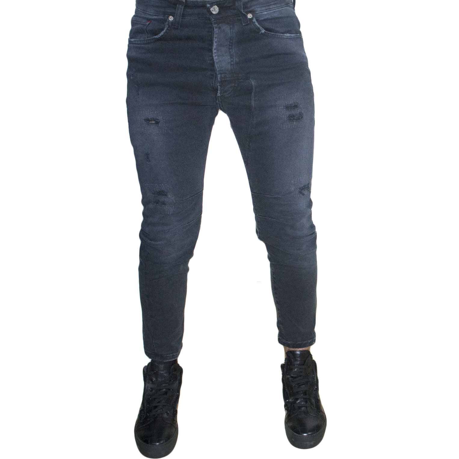 pantaloni jeans denim art3000 uomo man nero sfumato black strappi made in italy.