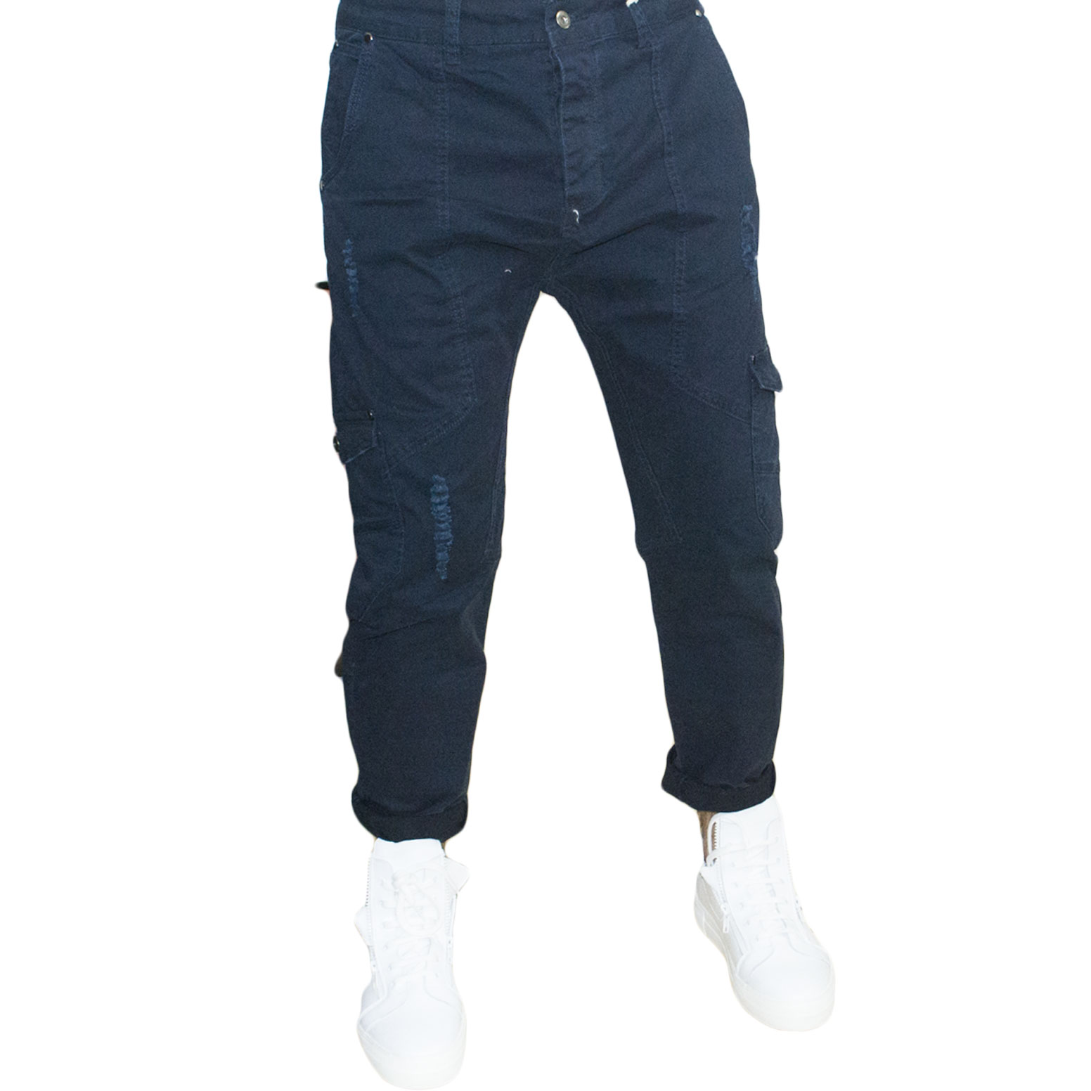 pantaloni uomo man blu new brams stracciato moda made in italy.