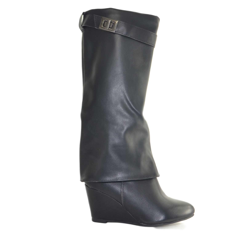 negozio online 2c24e a40f3 Stivali donna nero con zeppa interna e cinturino sotto ginocchio comfort  moda donna stivali Malu Shoes | MaluShoes