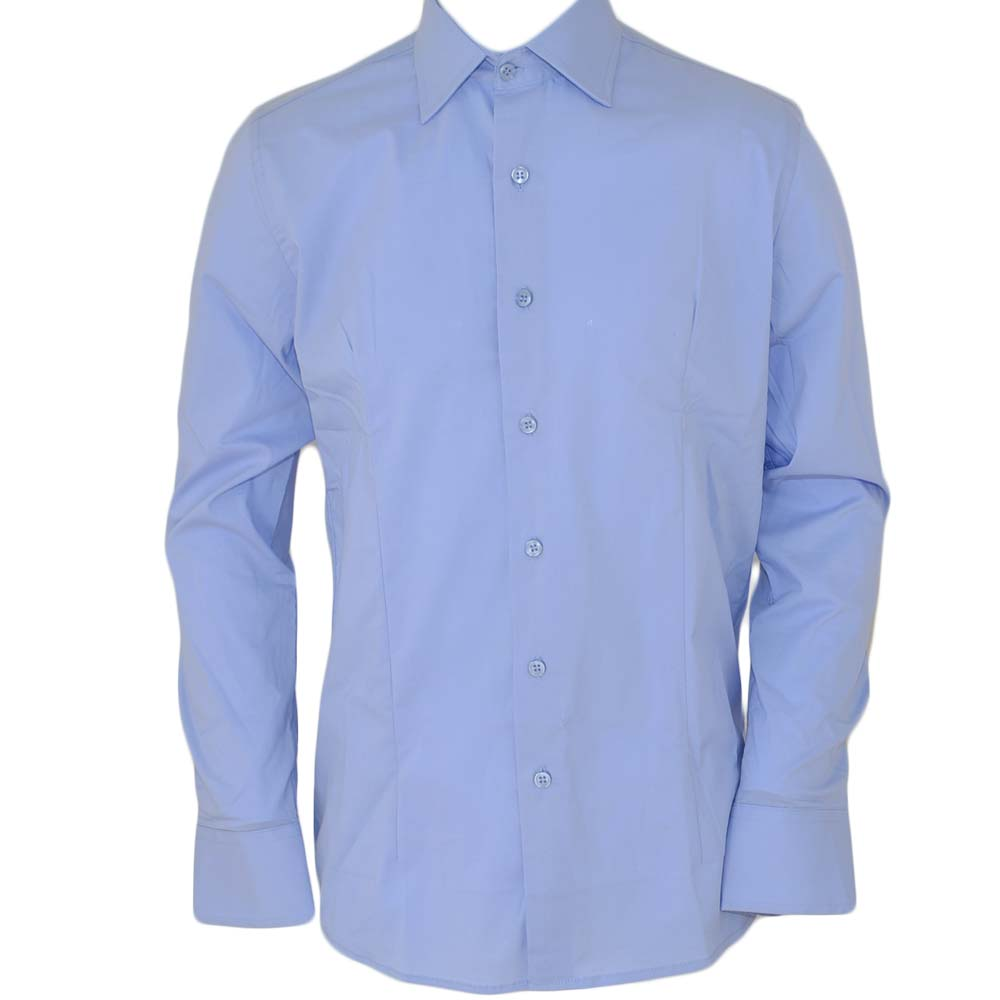 Camicia uomo slim cotone celeste collo rigido manica lunga basic made in italy.
