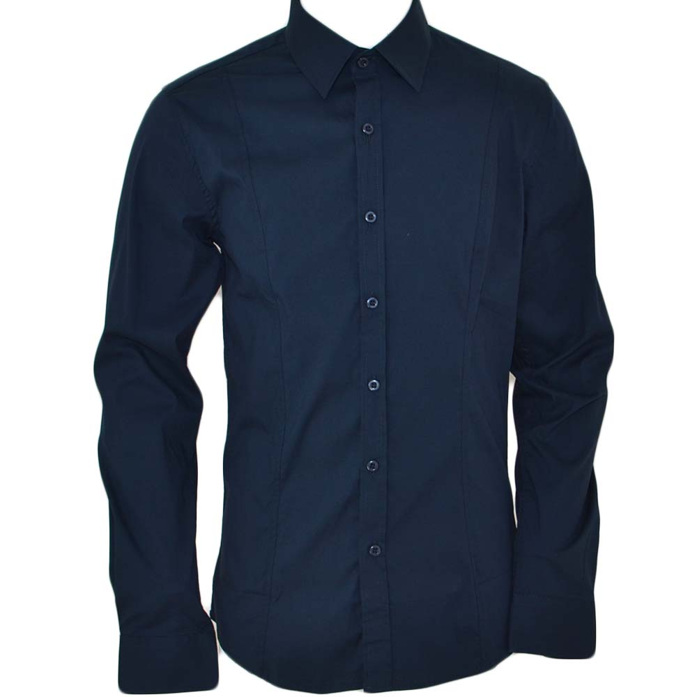 Camicia uomo slim cotone blu collo rigido manica lunga basic made in italy .