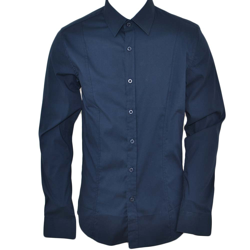 Camicia uomo slim cotone blu petrolio collo rigido manica lunga basic made in italy.