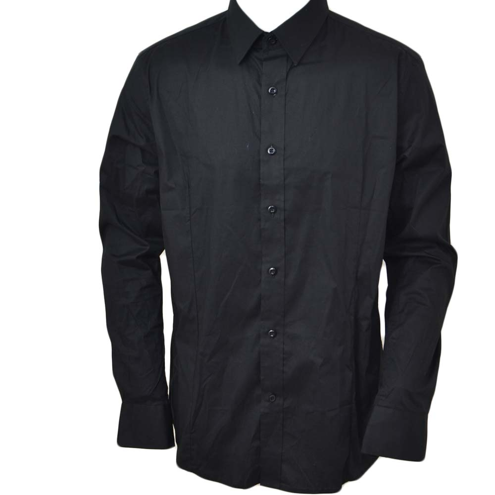 Camicia uomo slim cotone nero collo rigido manica lunga basic made in italy.