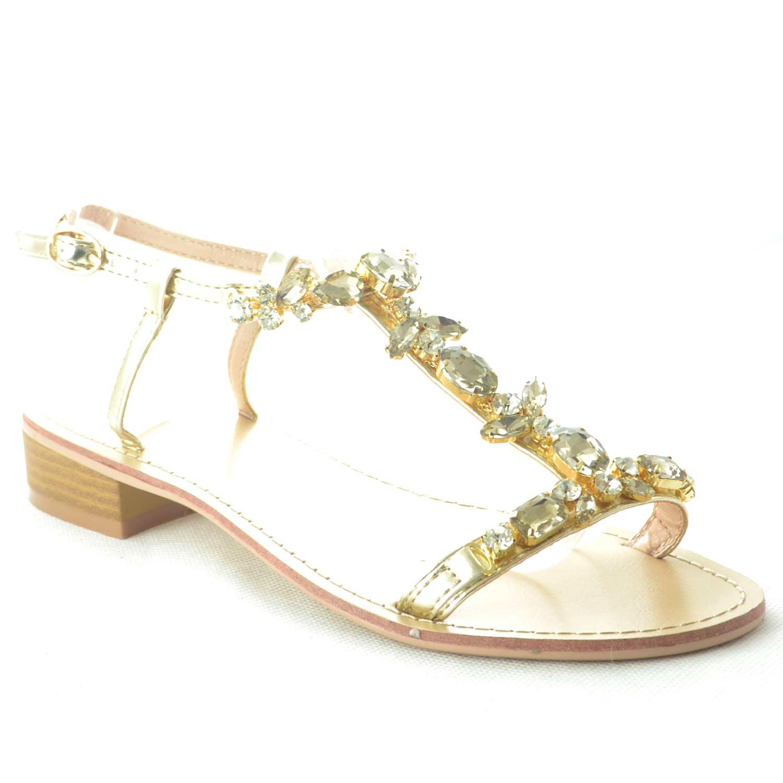 new concept be73b ea499 SANDALO GIOIELLO DONNA TACCO BASSO FASCETTA STRASS ORO GLAMOUR CHIC donna  sandali gioiello Malu Shoes | MaluShoes