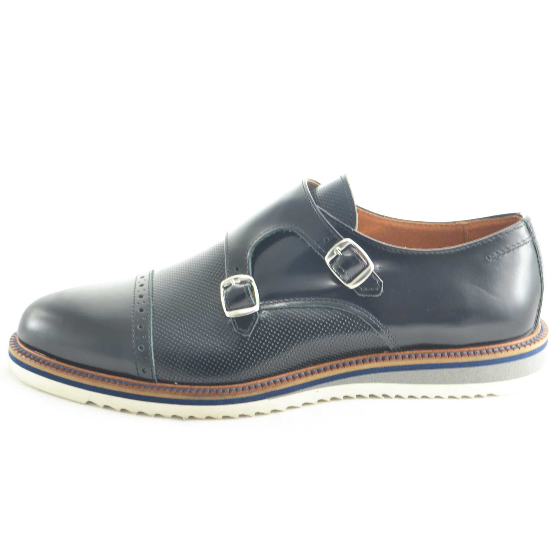 sports shoes 55044 11788 scarpe uomo classico sportivo doppia fibbia vera pelle traforata blu made  in italy moda elegante giovanile uomo doppia fibbia Malu Shoes | MaluShoes