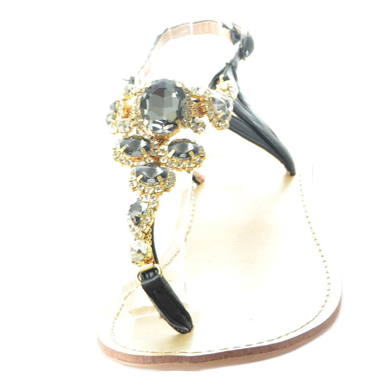 Strass Gioiello Malu Tacco Infradito Donna Fascetta Chic Glamour Nero Basso A ShoesMalushoes Con Sandalo Sandali Verticale mnNw08