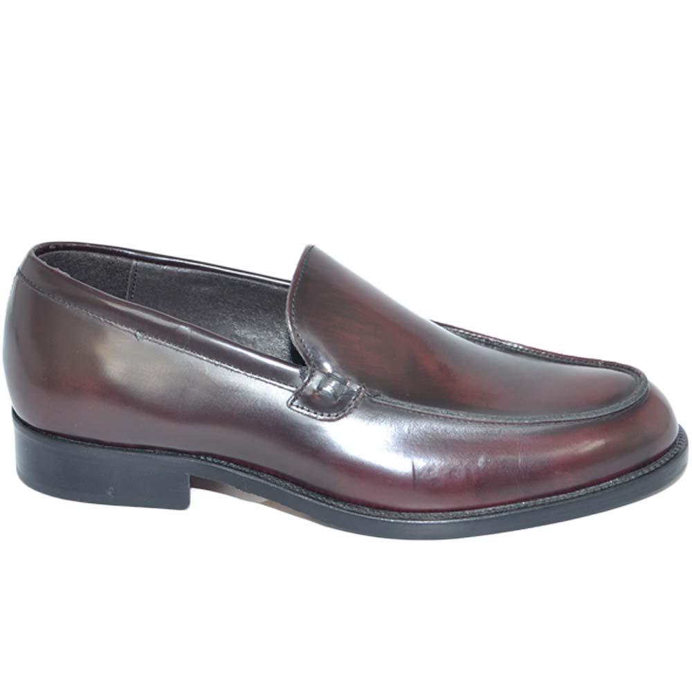 Mocassino uomo classico vera pelle abrasivata semilucida bordeaux con fondo cuoio artigianale fatti a mano in italia uomo mocassini Malu Shoes  
