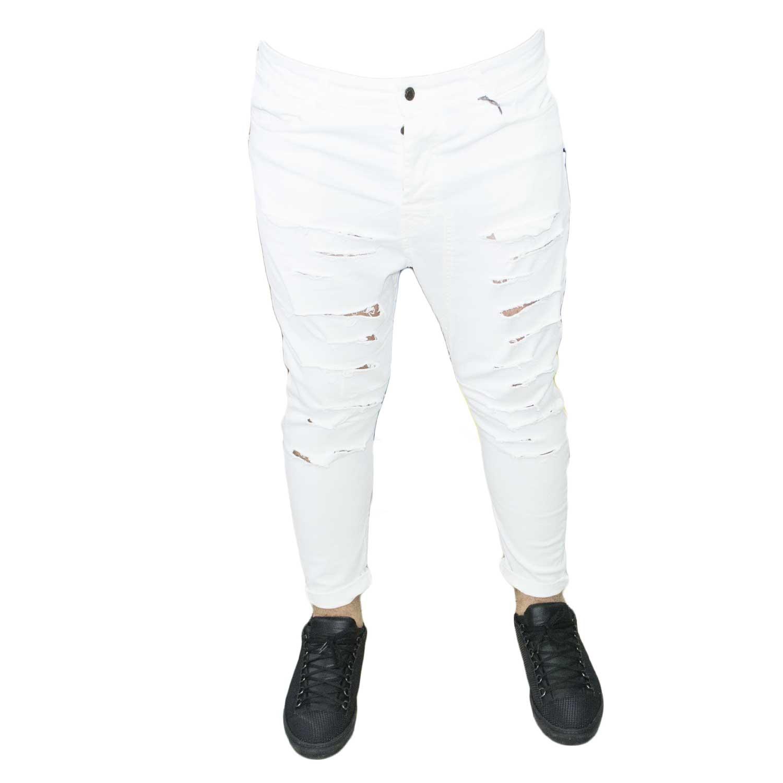 rivenditore online bc4d9 9a0d4 art 22M Jeans uomo strappi bianco moda tendenza uomo jeans Acy | MaluShoes