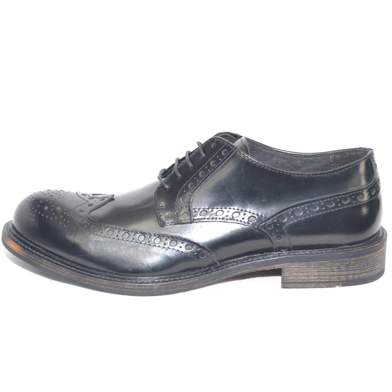 100% originale migliori scarpe da ginnastica marchio popolare Scarpe uomo stringate vintage lucide abrasivato nero vera pelle fondo cuoio  made in italy punta alzata uomo classiche Malu Shoes | MaluShoes