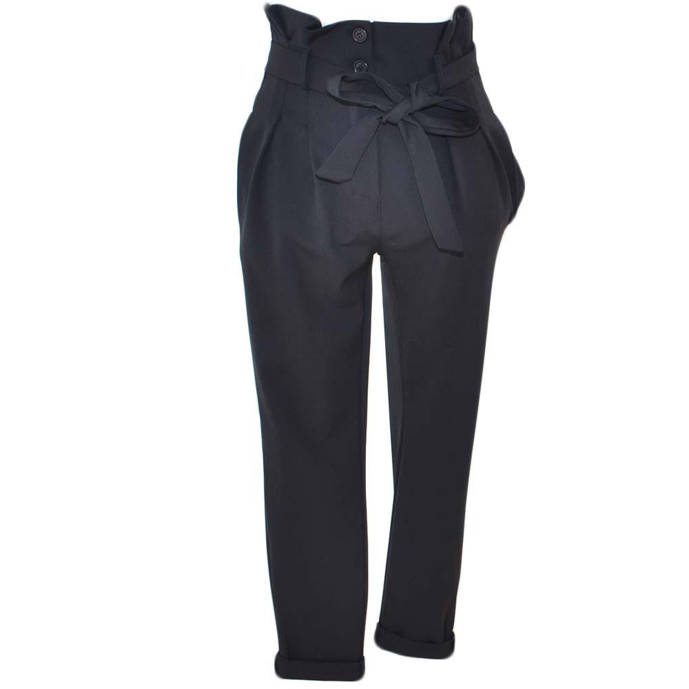 nuovi speciali come comprare taglia 40 Pantaloni neri donna a sigaretta vita alta con cintura in tessuto in vita  due tasche moda business colourfull glam donna pantaloni Malu Shoes | ...
